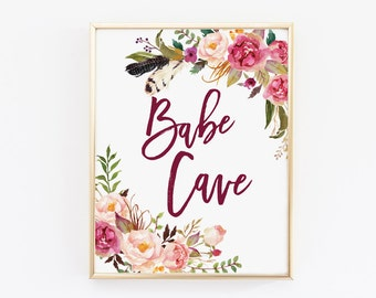 Babe Cave sign, Printable Quote, Printable Art, Gift for Her, Dorm decor, home office decor, babe cave printable, babe printable, boho babe