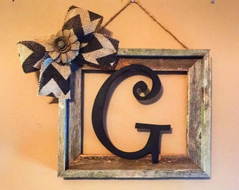 Rustic Frame, Barnwood Frame, Rustic Home Decor, Rustic Decor, Farmhouse Decor, Initial Frame, Frames, Wood Letter, Housewarming Gift, Gifts