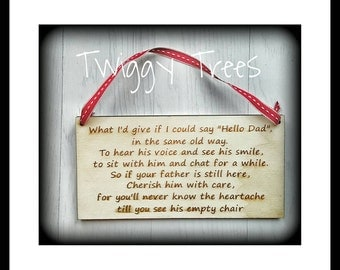 Memory Rememberance Plaque Dad Father  Engraved  Keychain Gift wooden sentimental wall hanging