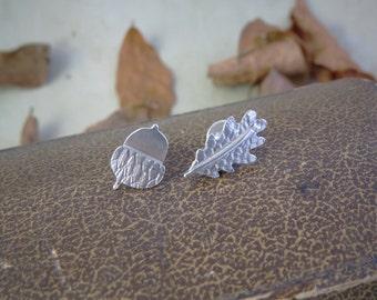 Acorn and leaf stud earrings