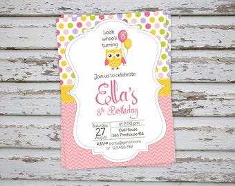 Owl invitation, Owl Thank You Card, Owl party, Owl Birthday Party Invite