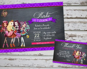 Ever After High Birthday Party Invitation Printable with Free Thank You Card