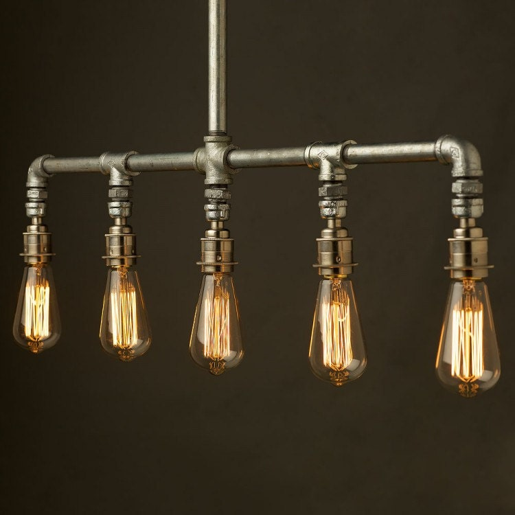 Industrial Pipe 5-Lamp Chandelier By Illuminology On Etsy