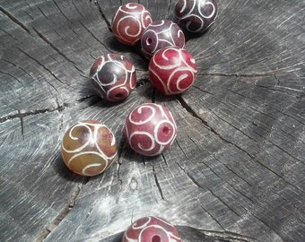 Etched Jade Tribal Beads, Carved Jade Beads, 4 in a set