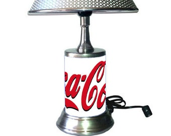 Coca-Cola Lamp with chrome shade, white background