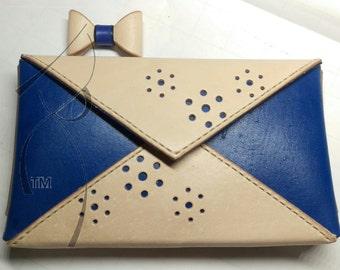 Blue & Natural Envelope Clutch