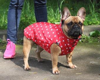 Red and Blue Super Star Dog Raincoat - Dog Jacket - Dog Coat - Dog Clothing - Pet Clothes - Available to Any Breed