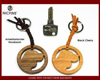 Key Chain Dog 01 wooden, with Swarovski elements