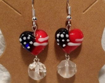 4th of July Patriotic Heart Shaped Flag Dangle Earrings