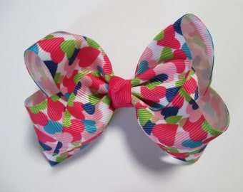 Baby/Toddler/Girl/Adult 4 Inch Boutique Hair Bows on Lined Alligator Clip - Coloured Hearts on White