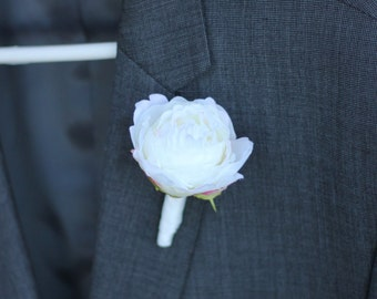 Silk peony rose boutonniere wedding pin corsage buttonhole groom