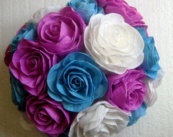 Kissing ball crepe paper flowers ball purple lavender plum crepe paper flower decor flowers ball kissing ball wedding 1st birthday backdrop frozen party nursery baby mightylinksfo Image collections