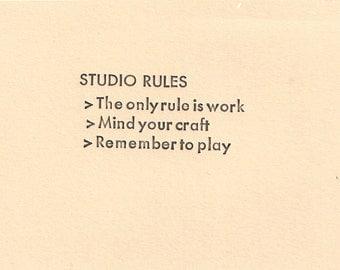 STUDIO RULES Letterpress card