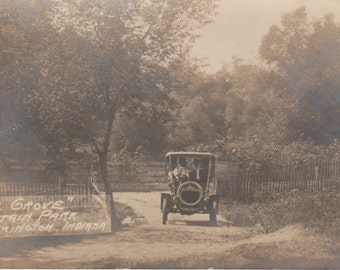 Postcard: Early Automobile at Fountain Park, Remington, Indiana, 1907