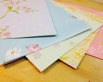 Set of 5 Floral Thick Recycled Paper Envelopes