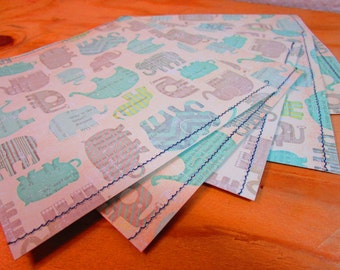 Set of 5 Elephant Print Card Stock Paper Envelopes