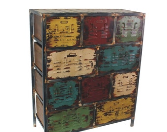 10-Drawer Antique Storage Cabinet