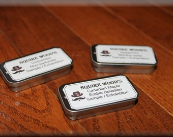 Moustache Wax sample tins