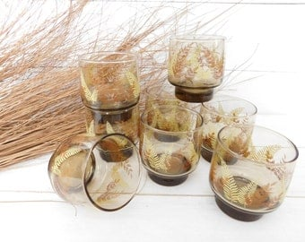 Vintage Set of 8 Libbey Fern Leaves Drinking Glasses, Smoked Glass, Juice Glasses