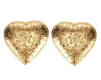 Vintage Signed 'YSL' Heart Earrings