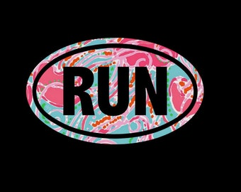 RUN Euro Decal, Preppy Print Vinyl, Choice of Pattern and Size, Running, Runner, Run