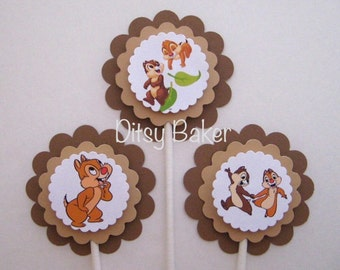 Chip n' Dale Cupcake Toppers - set of 12