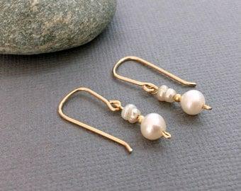 Delicate Gold Pearl Earrings, Drop Pearl Earrings , Dainty Freshwater Pearl Earrings, Bridal Dangle Earrings Pearl Bridesmaid Earrings