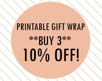 Printable Gift Wrap: BUY 3, 10% OFF! - printable wrapping paper