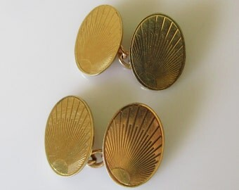 Pair of Vintage Gold Oval Sunburst Cufflinks