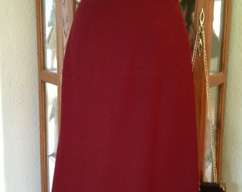 Vintage 1980's Rust Burgundy Wool Skirt *  Size Small to Extra Small