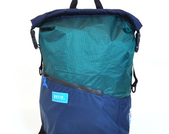 Tour Pack - Reuse Recycle Sails Green Urban Backpack, Desing Stilish, Outdoors, Water resistant, Made in USA, Unique, One of a Kind