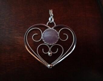 Heart pendant & purple quartz