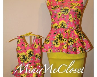 Matching Mother and Daughter Dress (Mom and Me) - Pink Floral Peplum Top and skirt