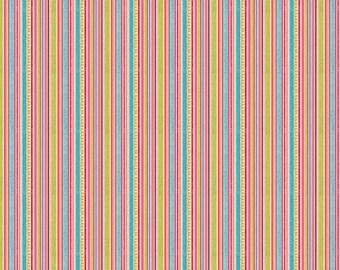 SALE 5.99 YARD - Riley Blake Happy Flapper Stripe Blue  - 100% quilt cotton Sale Fabric C4025 Blue and Pink Stripe