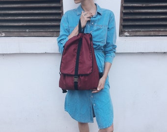 Burgundy waterproof backpack
