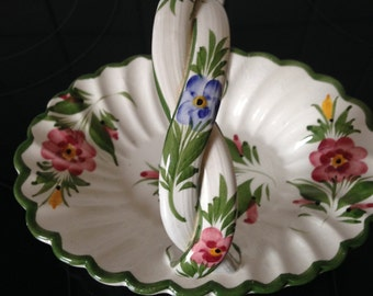 Basket With Handle, Ceramic Basket, China Basket, Pottery Basket, Basket, Trinket Dish, Candy Dish, Portuguese Pottery, Portuguese Ceramics