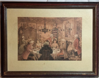 Set of 2 framed Anton Pieck prints, Dutch, Lithographs, Original frames, Dinner Party & Stagecoach in snow scene