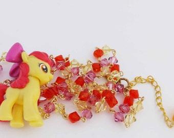 My Little Pony Apple Bloom Swarovski Crystal necklace kawaii jewelry