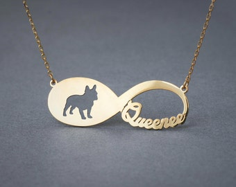 14k Solid Gold Personalised INFINITY FRENCH BULLDOG Necklace - 14k Gold French Bulldog Necklace - Name Necklace