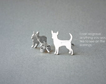 CHIHUAHUA NAME Earring - Chihuahua Name Earrings - Personalised Earrings - Dog Breed Earrings - Dog Earring