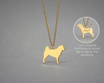 14K Solid GOLD Tiny AKITA Name Necklace • Akita Inu • Akita Necklace • Name Necklace • Dog Breed • Dog Necklace • Gold Necklace • Akita Gift