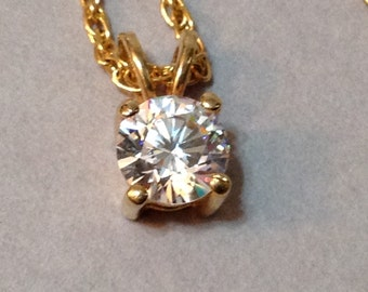 Gold Tone 6mm CZ Pendant and Chain Necklace