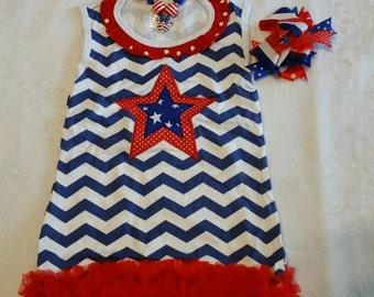Summer red, white and blue dress set with hair bow and necklace.