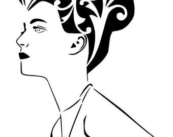 """5.8/8.3 """" A5 vintage woman stencil 1"""
