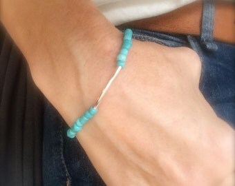 Turquoise Beaded Bracelet Boho Bracelet Anklet Silver Bar Beach Ocean Inspired Stack Ankle Bracelet Stretch Bracelet Bridal Bridesmaid Gift