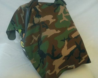 Canvas Camo baby car seat cover/canopy