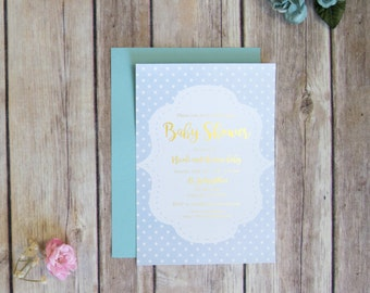 Cute Gold Foil Baby Shower Invite Handmade