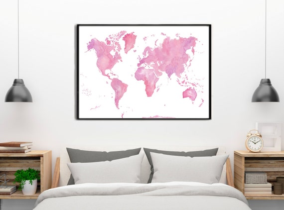 Pastel Colors, Pink and Violet World map Watercolor painting Poster Gift Home Decor Birthday gift for her Wedding gift. Handmade.Mapa mundi