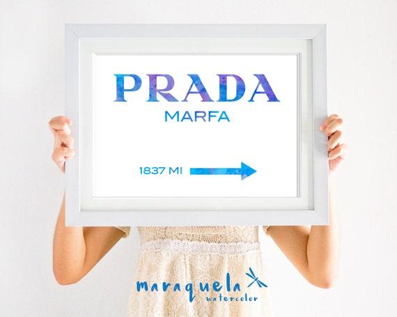 BLUE HUES  Prada Marfa Inspired apartment Gossip Girl Lily van der Woodsen watercolor Poster Prada Marfa Sign, NY city Fashion Print 1837