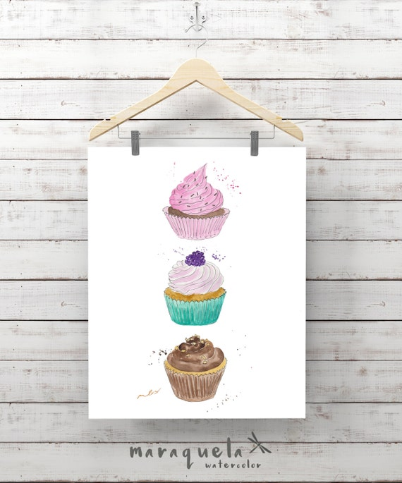 CUPCAKES illustration, cupcake, modern muffins, dessert print decor, coffee, cakes, doughnut, food prints, Kitchen decor, fashion wall art